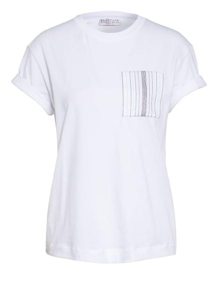 BRUNELLO CUCINELLI T-Shirt mit Schmucksteinbesatz, Farbe: WEISS (Bild 1)