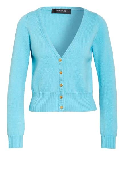 VERSACE Cropped-Strickjacke aus Cashmere, Farbe: HELLBLAU (Bild 1)