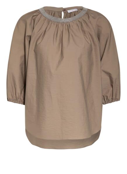 BRUNELLO CUCINELLI Blusenshirt mit Schmucksteinbesatz , Farbe: TAUPE (Bild 1)