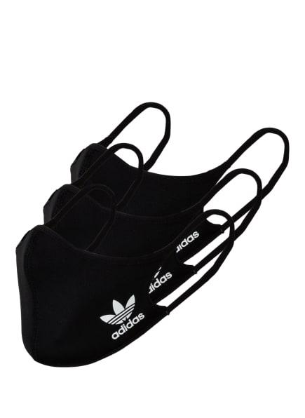adidas Originals 3er-Set Mund- und Nasenmaske, Farbe: SCHWARZ (Bild 1)