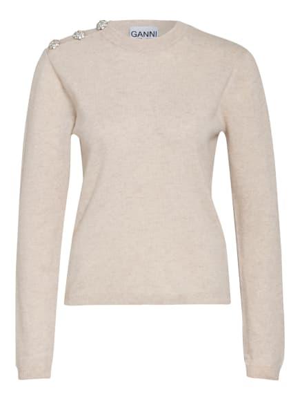 GANNI Cashmere-Pullover mit Schmucksteinbesatz, Farbe: ECRU/ CREME (Bild 1)