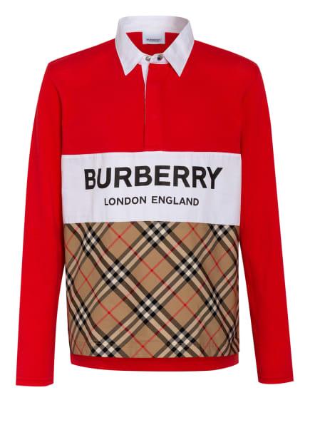 BURBERRY Piqué-Poloshirt, Farbe: ROT/ WEISS/ BEIGE (Bild 1)