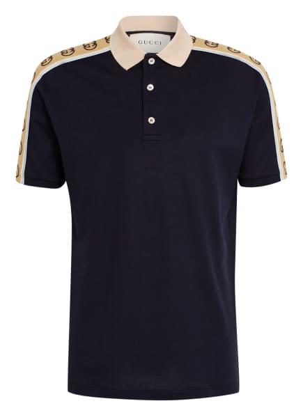 GUCCI Piqué-Poloshirt Regular Fit, Farbe: DUNKELBLAU/ BEIGE (Bild 1)