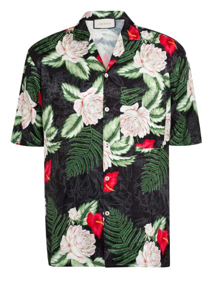 GUCCI Resorthemd HAWAII mit Seide, Farbe: SCHWARZ/ CREME/ GRÜN (Bild 1)