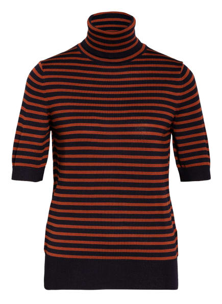 MAERZ MUENCHEN Strickshirt mit Rollkragen, Farbe: DUNKELBLAU/ BRAUN GESTREIFT (Bild 1)