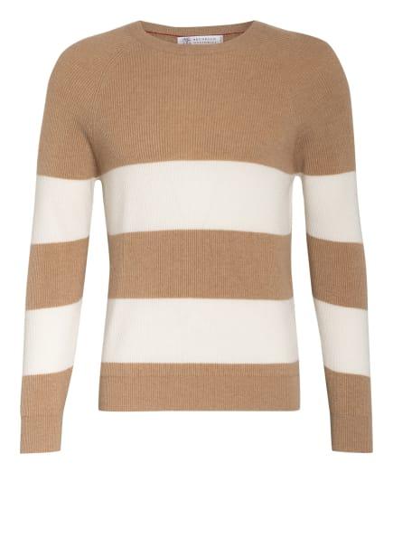 BRUNELLO CUCINELLI Cashmere-Pullover , Farbe: BEIGE/ WEISS (Bild 1)
