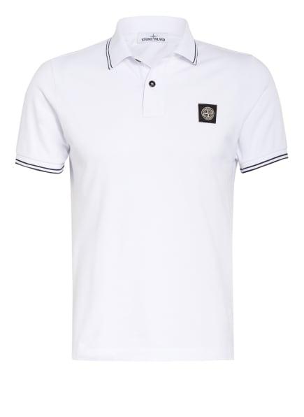 STONE ISLAND Piqué-Poloshirt Slim Fit , Farbe: WEISS (Bild 1)