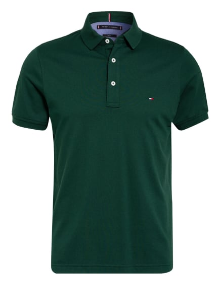 TOMMY HILFIGER Piqué-Poloshirt Slim Fit, Farbe: DUNKELGRÜN (Bild 1)