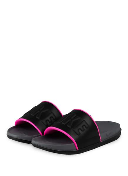 Nike Pantoletten OFFCOURT, Farbe: SCHWARZ/ NEONPINK (Bild 1)