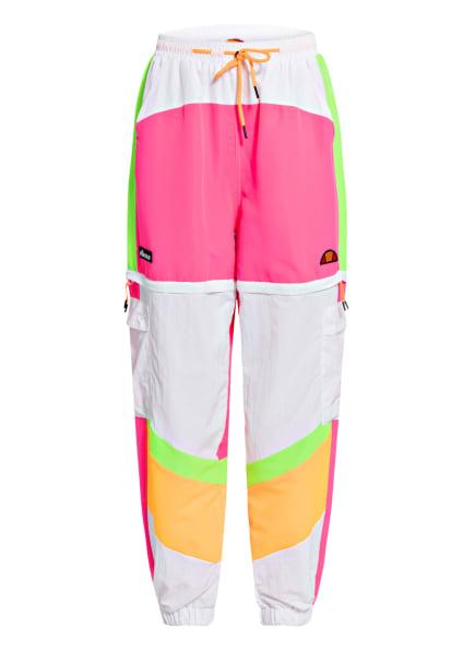 ellesse Zipp-off-Fitnesshose MANOSTO mit Schmucksteinbesatz, Farbe: WEISS/ NEONPINK/ NEONGRÜN (Bild 1)