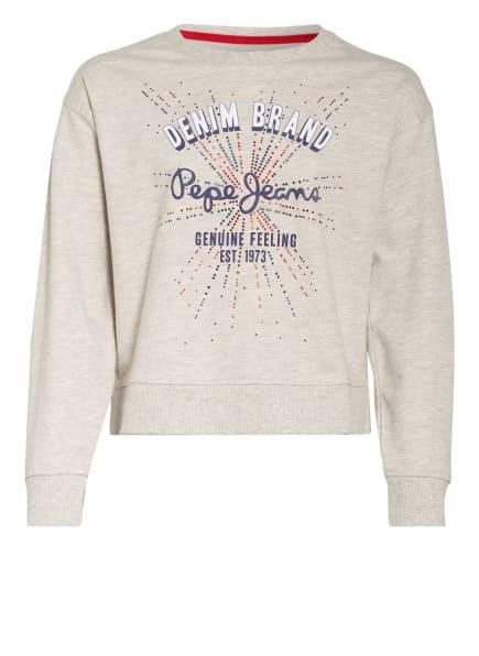Pepe Jeans Sweatshirt mit Schmucksteinbesatz, Farbe: GRAU MELIERT (Bild 1)