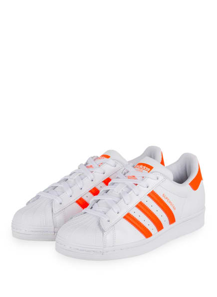 adidas Originals Sneaker SUPERSTAR, Farbe: WEISS/ NEON ORANGE (Bild 1)