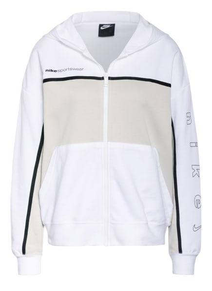 Nike Oversized-Sweatjacke, Farbe: WEISS/ HELLGRAU/ SCHWARZ (Bild 1)
