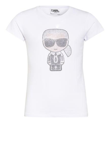 KARL LAGERFELD KIDS T-Shirt mit Schmucksteinbesatz, Farbe: WEISS (Bild 1)