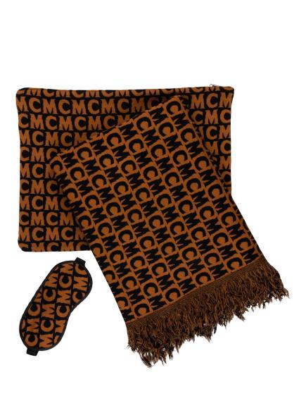 MCM Set: Decke, Pouch und Schlafmaske, Farbe: COGNAC/ SCHWARZ (Bild 1)