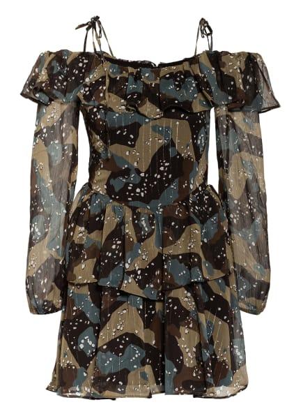 GUESS Off-Shoulder-Kleid VEDA mit Glitzergarn, Farbe: SCHWARZ/ GRAU/ BRAUN (Bild 1)