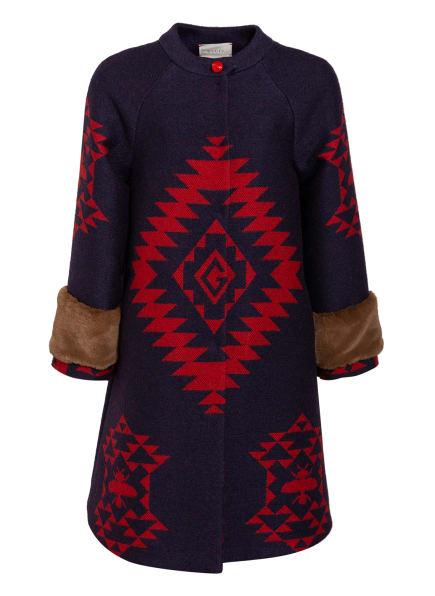 GUCCI Mantel mit Kunstfellbesatz, Farbe: DUNKELBLAU/ ROT (Bild 1)