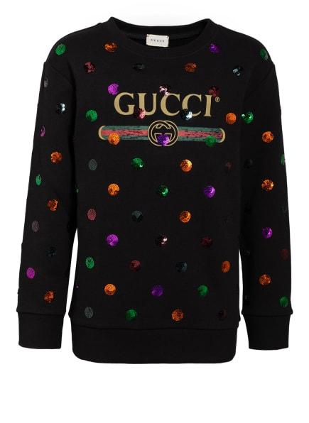 GUCCI Sweatshirt mit Paillettenbesatz, Farbe: SCHWARZ (Bild 1)