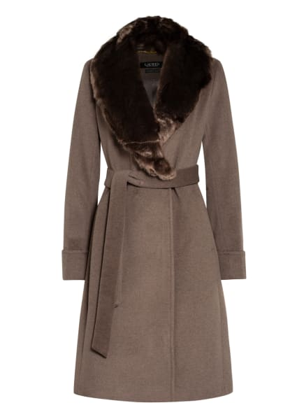 LAUREN RALPH LAUREN Mantel mit abnehmbarem Kunstpelzbesatz, Farbe: HELLBRAUN (Bild 1)