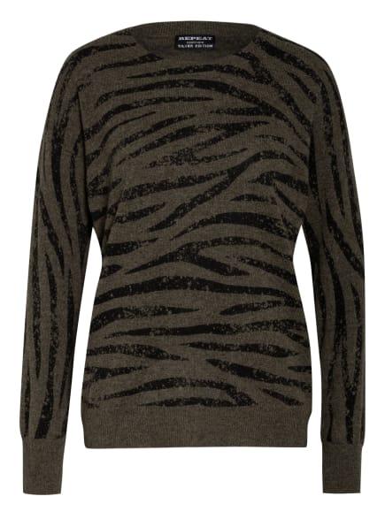 REPEAT Cashmere-Pullover , Farbe: KHAKI/ SCHWARZ (Bild 1)