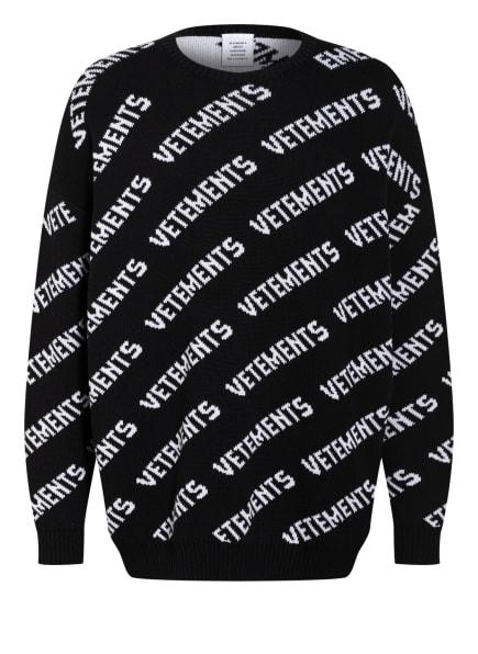 VETEMENTS Oversized-Pullover, Farbe: SCHWARZ/ WEISS (Bild 1)