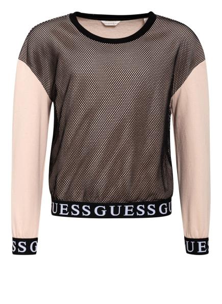GUESS Sweatshirt im Materialmix, Farbe: NUDE/ SCHWARZ (Bild 1)