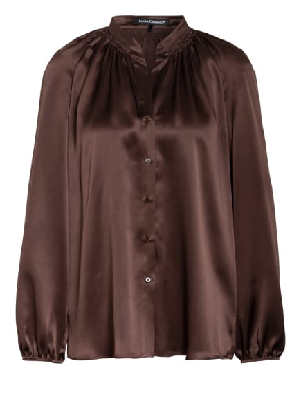 LUISA CERANO Hemdbluse aus Seide, Farbe: DUNKELBRAUN (Bild 1)