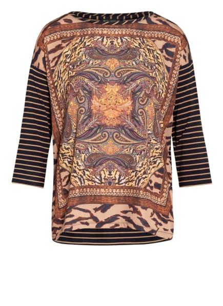 Betty Barclay Blusenshirt im Materialmix mit Schmucksteinbesatz, Farbe: CAMEL/ DUNKELBLAU (Bild 1)