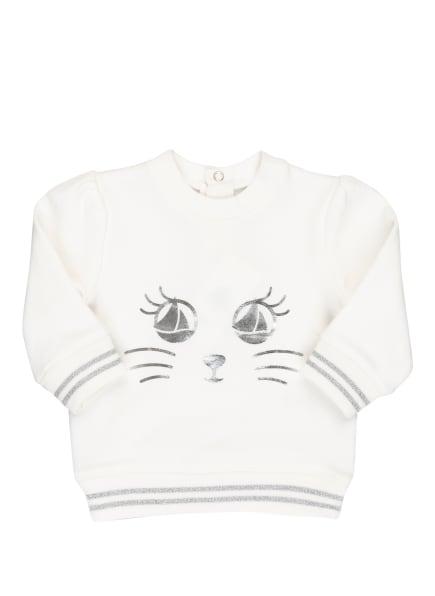 PETIT BATEAU Sweatshirt mit Glitzergarn, Farbe: WEISS/ SILBER (Bild 1)