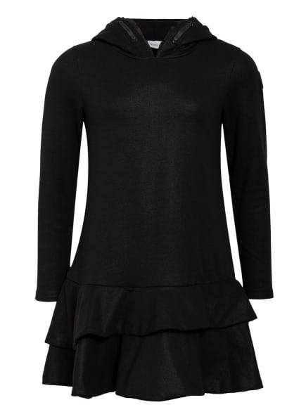 MONCLER enfant Hoodie-Kleid mit Rüschen- und Volantbesatz, Farbe: SCHWARZ (Bild 1)