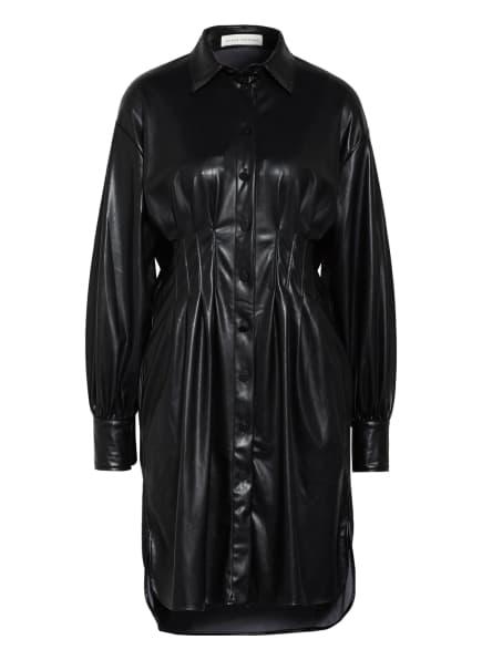MYKKE HOFMANN Hemdblusenkleid KESSY in Lederoptik, Farbe: SCHWARZ (Bild 1)
