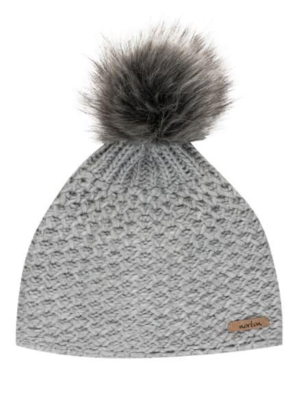 norton Mütze mit Kunstpelzbommel, Farbe: HELLGRAU (Bild 1)