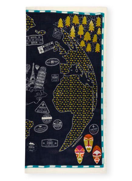 STORI ATIPIC Leinenschal TERA , Farbe: DUNKELBLAU/ HELLOLIV/ WEISS (Bild 1)