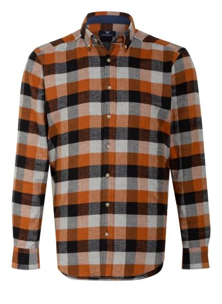 STROKESMAN'S Flanellhemd Modern Fit, Farbe: HELLGRAU/ DUNKELORANGE/ SCHWARZ (Bild 1)