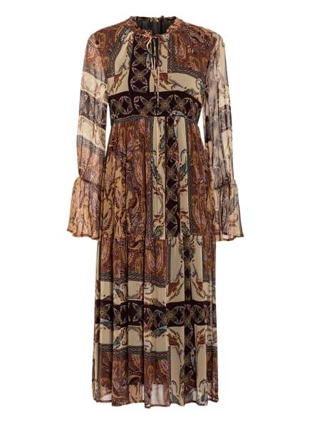 FrogBox Kleid mit Volantbesatz, Farbe: DUNKELBRAUN/ ALTROSA/ HELLGELB (Bild 1)
