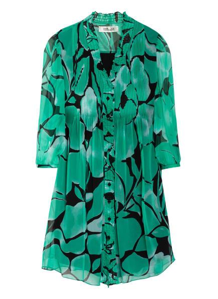 DIANE VON FURSTENBERG Hemdblusenkleid LAYLA aus Seide mit 3/4-Arm, Farbe: GRÜN/ SCHWARZ (Bild 1)