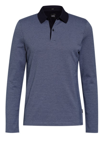 BOSS Strick-Poloshirt PLEINS Slim Fit, Farbe: DUNKELBLAU/ WEISS (Bild 1)