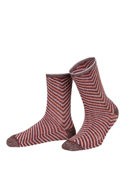 BECKSÖNDERGAARD Strümpfe TWISTY DARYA mit Glitzergarn , Farbe: DUNKELROT/ HELLROT/ SILBER (Bild 1)