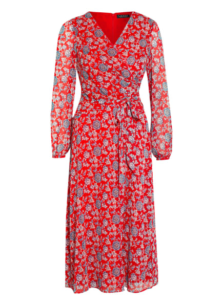 LAUREN RALPH LAUREN Kleid in Wickeloptik, Farbe: ROT/ BLAU/ HELLROSA (Bild 1)