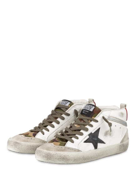 GOLDEN GOOSE DELUXE BRAND Hightop-Sneaker MID STAR, Farbe: 80345 WHITE/GREEN CAMOUFLAGE/ICE/BLACK/SILVER (Bild 1)