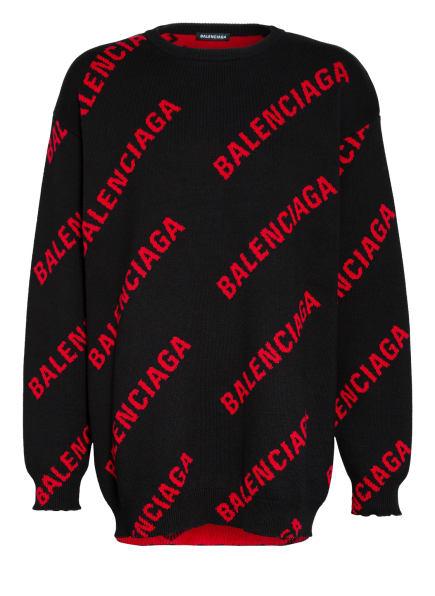 BALENCIAGA Oversized-Pullover, Farbe: SCHWARZ/ ROT (Bild 1)