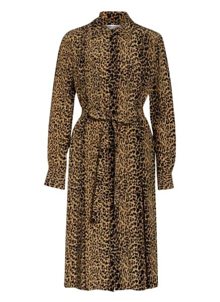 SAINT LAURENT Hemdblusenkleid aus Seide, Farbe:  BEIGE/ SCHWARZ (Bild 1)