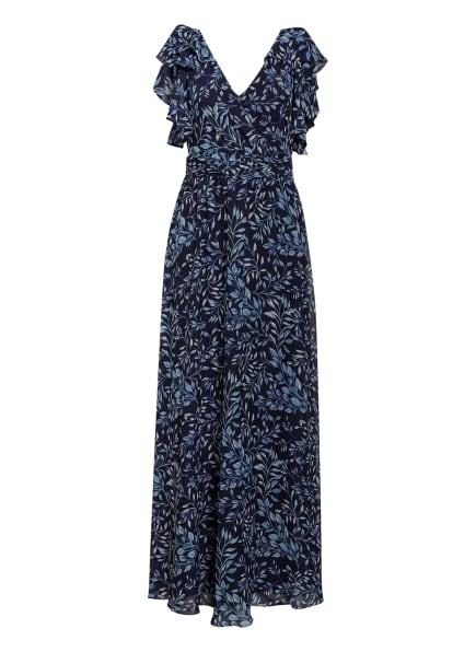LAUREN RALPH LAUREN Abendkleid mit Volantbesatz, Farbe: DUNKELBLAU/ HELLBLAU (Bild 1)