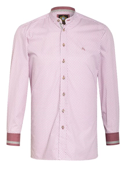Hammerschmid Trachtenhemd mit Stehkragen Slim Fit, Farbe: WEISS/ ROT (Bild 1)