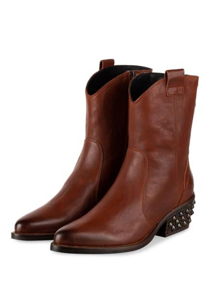 DONNA CAROLINA Cowboy Boots mit Nietenbesatz, Farbe: BRAUN (Bild 1)