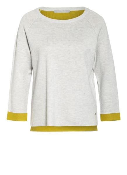 BETTY&CO Pullover mit 3/4-Arm, Farbe: HELLGRAU MELIERT/ KHAKI (Bild 1)