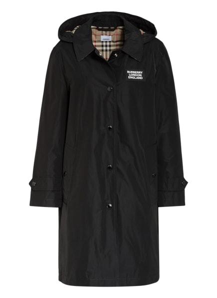 BURBERRY Mantel mit abnehmbarer Kapuze, Farbe: SCHWARZ (Bild 1)