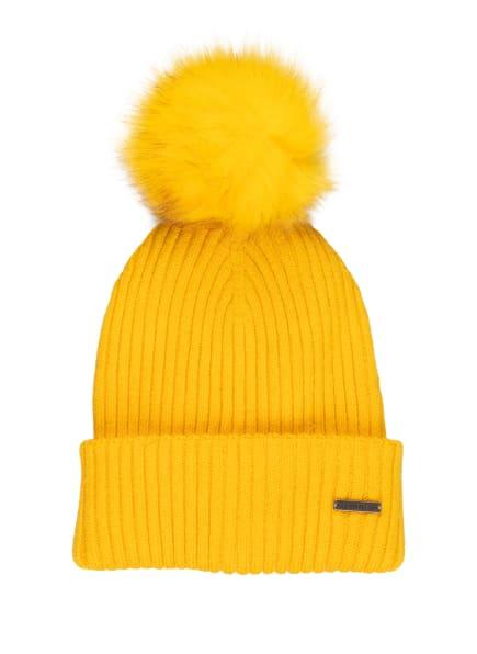 Barts Mütze KENZIE mit Kunstpelzbommel, Farbe: GELB (Bild 1)
