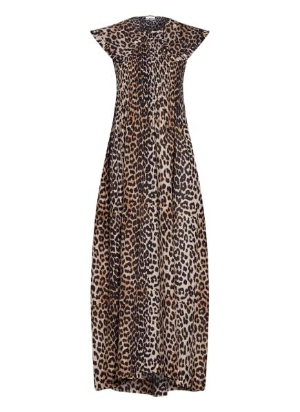 GANNI Kleid mit Seide, Farbe: BEIGE/ BRAUN/ SCHWARZ (Bild 1)