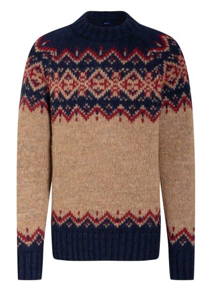 GANT Pullover mit Alpaka, Farbe: BEIGE/ DUNKELBLAU/ DUNKELROT (Bild 1)